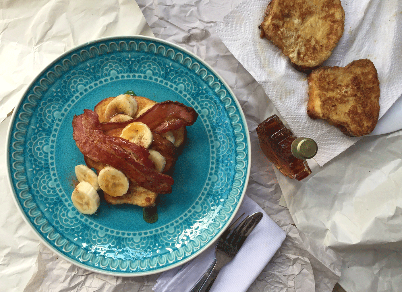 Madeira Cake French Toast with Crispy Bacon and Banana