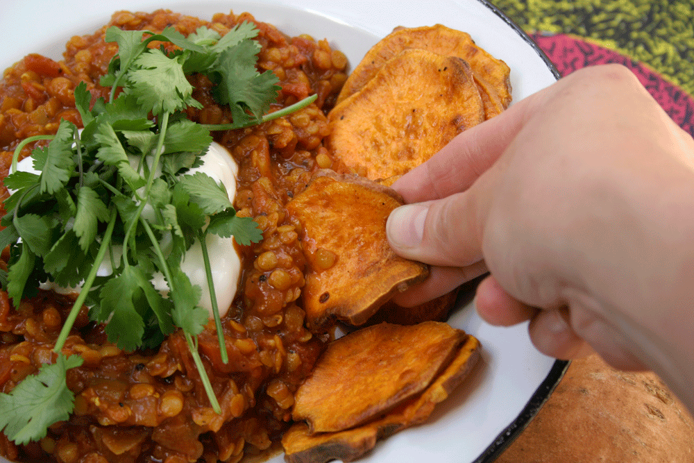 Easy Red Lentil Curry with Sweet Potato Crisps