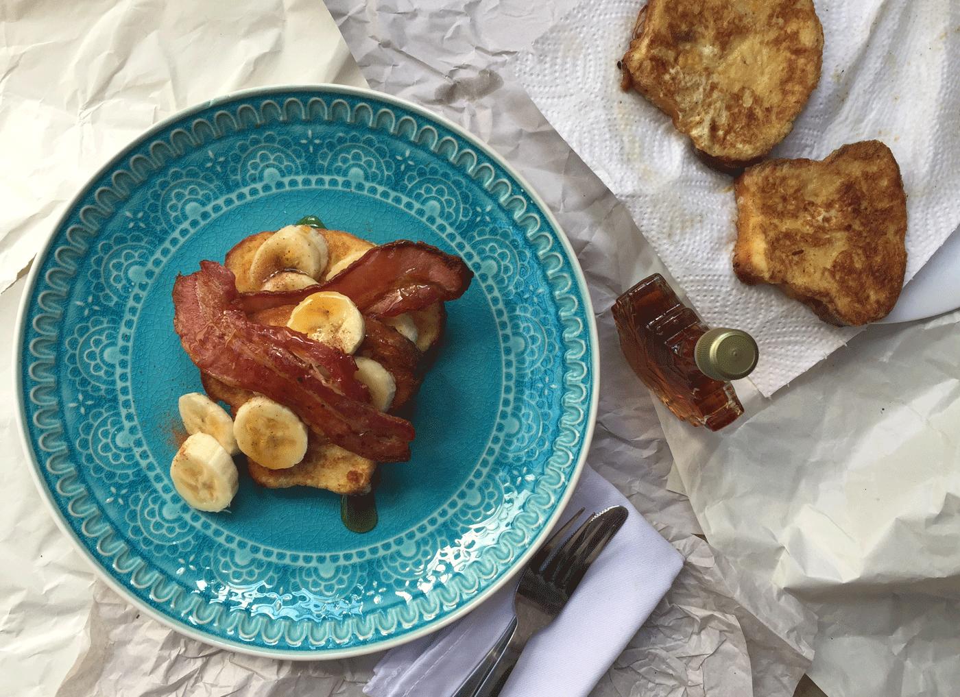 Madeira Cake French Toast with Crispy Bacon and Banana