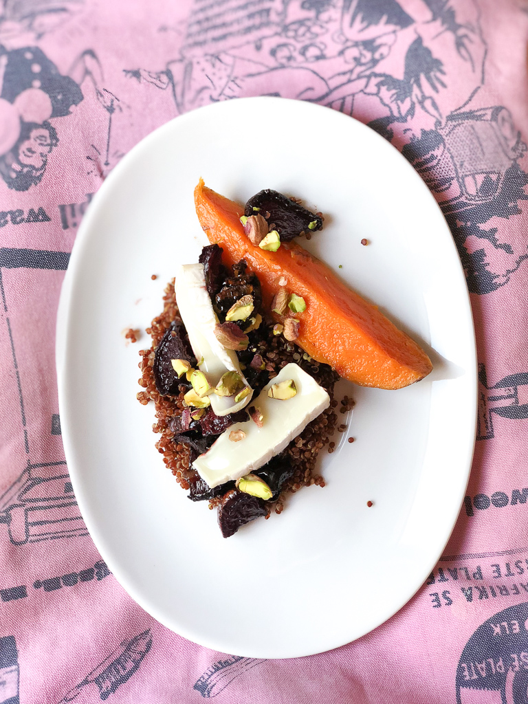 Red Quinoa, Sweet Potato and Balsamic Roasted Beetroot Salad